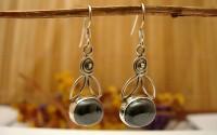 Boucles d'oreille en argent et Hématite.