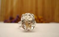Bague en argent et Cristal de roche T55