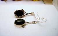 Boucles d'oreilles argent et Onyx noire.