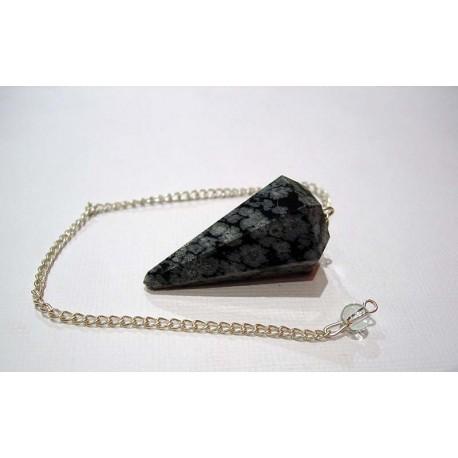 Pendule en Obsidienne mouchetée.