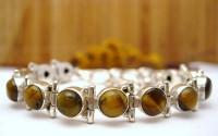 Bracelet argent et Oeil de tigre.