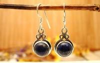 Boucles d'oreilles argent et Lapis lazuli.