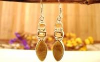 Boucles d'oreilles argent Citrine et Corail fossilé