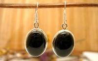 Boucles d'oreilles Onyx noire.