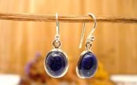 Boucles d'oreille en argent et Lapis lazuli.