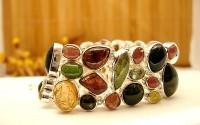 Bracelet en argent et Tourmaline multicolore.