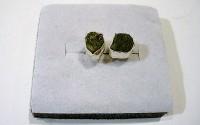 Boucles d'oreille en argent et Tourmaline vert..