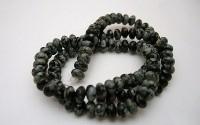 Obsidienne mouchetée pierre percée.