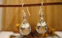 Boucles d'oreille argent et cristal de roche.
