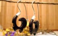 Boucles d'oreille en argent et D'ébène