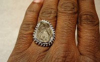 Bague argent et Diamant d'herkimer T56